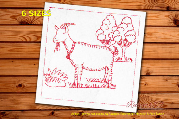 Goat in a Meadow on Green Grass Redwork Farm Animals Embroidery Design By Redwork101