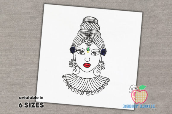 Goddess Durga Face Quick Stitch Religion & Faith Embroidery Design By embroiderydesigns101