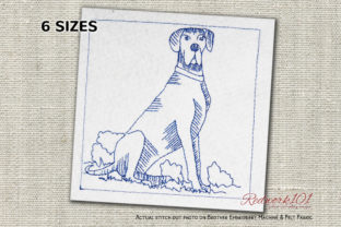 Great Dane Dog Redwork Dogs Embroidery Design By Redwork101