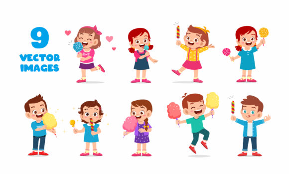 Kids Character Eat Candy Set 2 Graphic Illustrations By colorfuelstudio