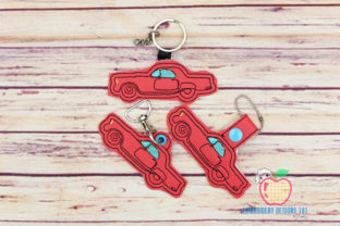Little Pink Car ITH Snaptab Keyfob Transportation Embroidery Design By embroiderydesigns101