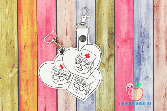 Male Nurse ITH Key Fob Pattern Teenagers Embroidery Design By embroiderydesigns101