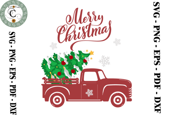 Print on Demand: Merry Christmas Truck Vector Graphic Print Templates By Cricut Creation