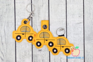 Old Vintage Car Keyfob Keychain ITH Transportation Embroidery Design By embroiderydesigns101