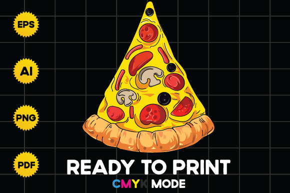 Print on Demand: Realistic Pizza Slice Illustration Grafik Logos von BioLite