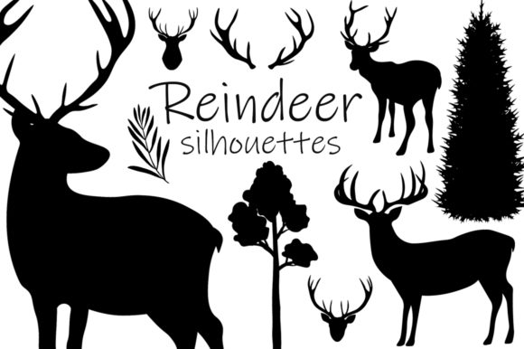 Reindeer Silhouettes Vector Illustration Graphic Illustrations By shishkovaiv