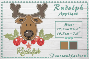 Rudolph Applique Christmas Embroidery Design By Fontsandfashion 1
