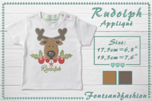 Rudolph Applique Christmas Embroidery Design By Fontsandfashion 2