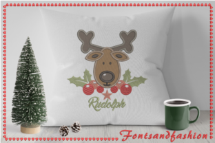 Rudolph Applique Christmas Embroidery Design By Fontsandfashion 3