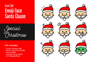 Santa Claus Emoji Face Special Christmas Graphic Illustrations By fadilahridwan69