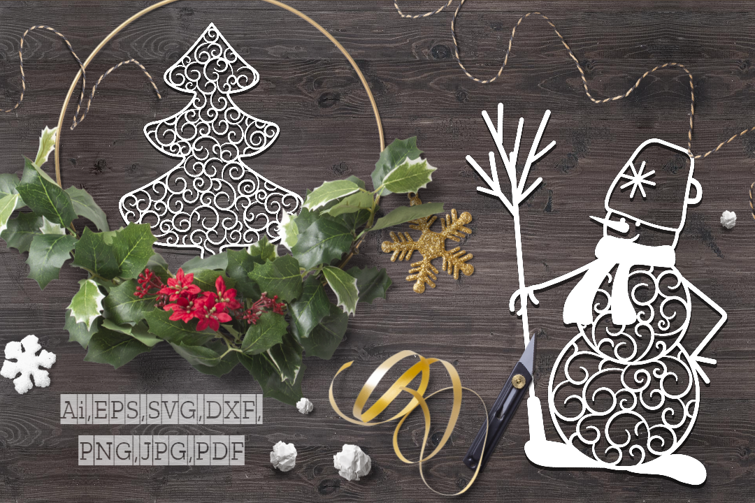 Stencil Snowman and Christmas Tree SVG File