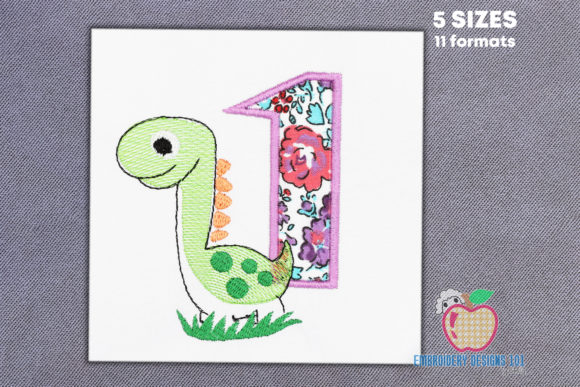 The Dinosaur in Green Color Applique Dinosaurs Embroidery Design By embroiderydesigns101