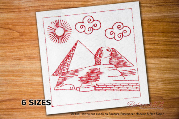 The Great Sphinx of Giza Egypt Redwork Africa Embroidery Design By Redwork101