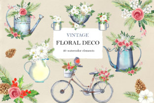 Vintage Floral Deco Graphic Illustrations By evgenia_art_art