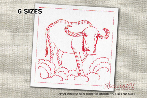 Water Buffalo Redwork Farm Animals Embroidery Design By Redwork101