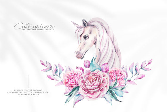Print on Demand: Watercolor Unicorn Clipart. Floral Pony Graphic Illustrations By Tiana Geo