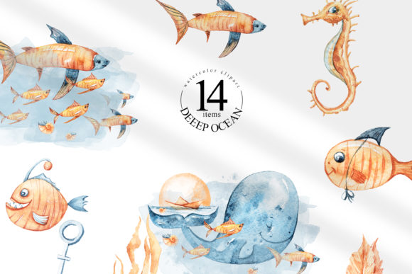 Print on Demand: Watercolor Whale and Fish Clipart Set Grafik Illustrationen von Tiana Geo