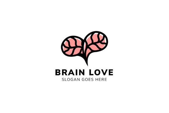 Print on Demand: Brain Love Logo Graphic Logos By noory.shopper