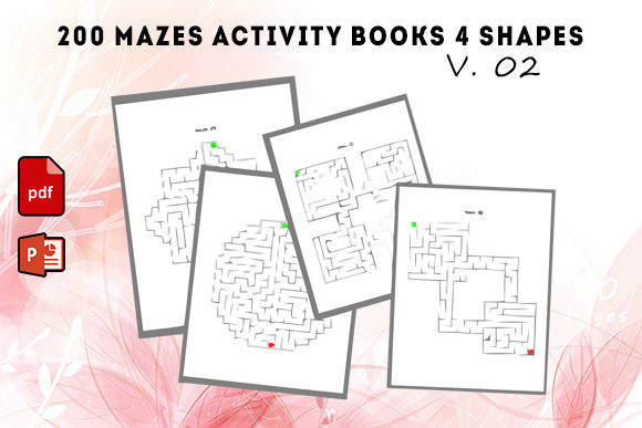 200 Mazes Activity Books 4 Shapes #2 Graphic KDP Interiors By KDP Successor