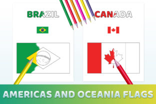 Print on Demand: Americas & Oceania Flags Coloring Pages Graphic Coloring Pages & Books Kids By medelwardi