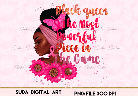 Print on Demand: Black Queen the Most Flower Pink Design Graphic Illustrations By Suda Digital Art
