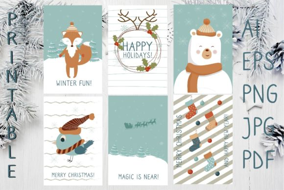 Christmas Printable Greeting Cards Graphic Illustrations By sombrecanari