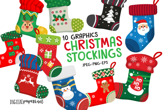 Print on Demand: Christmas Stockings Clipart Set Graphic Illustrations By DigitalPapers