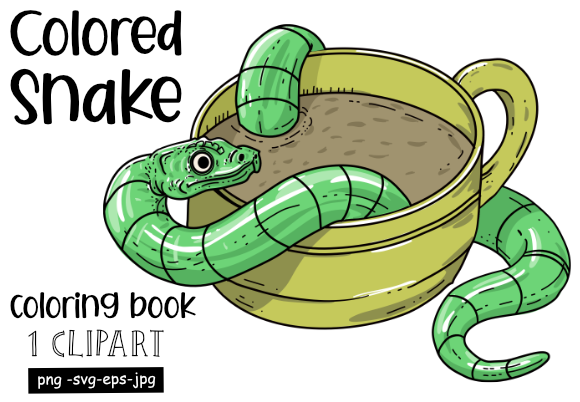Print on Demand: Colored Coffee Snake for POD Graphic Coloring Pages & Books Adults By stanosh