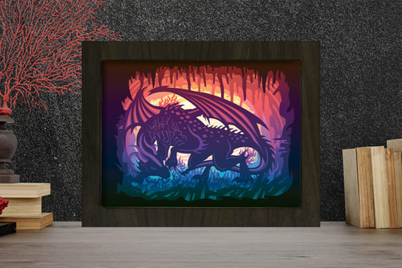 Print on Demand: Dragon 3 Light Box Shadow Box Graphic 3D Shadow Box By LightBoxGoodMan
