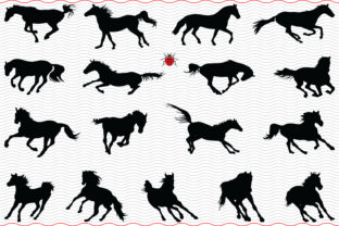 Horses Gallop, Black Silhouettes Digital Graphic Icons By SilhouetteDesigner