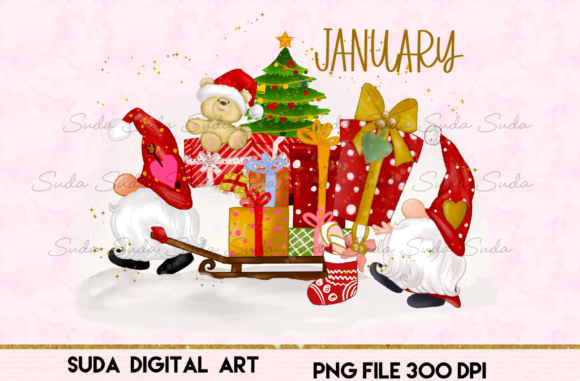 Print on Demand: January Calendar Design Sublimation Graphic Illustrations By Suda Digital Art