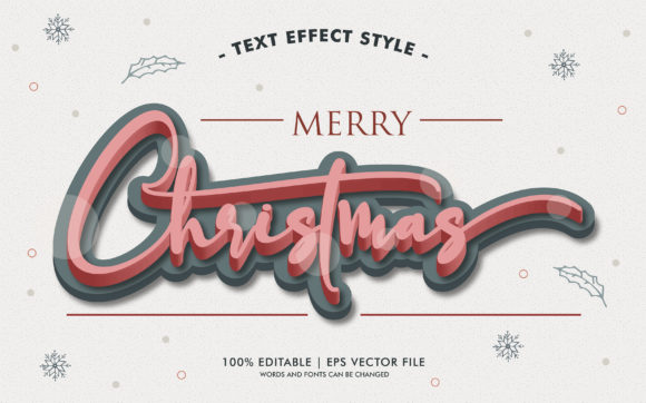 MERRY CHRISTMAS 3D TEXT EFFECTS STYLE Graphic Layer Styles By Neyansterdam17