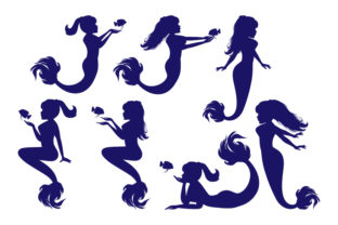 Print on Demand: Mermaid Silhouette Collection Graphic Illustrations By curutdesign