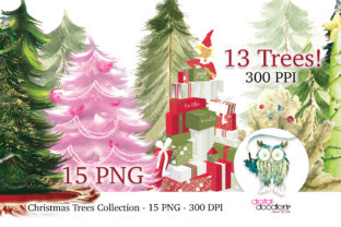 Print on Demand: Painted Christmas Tree Collection Graphic Illustrations By Digital Doodlers