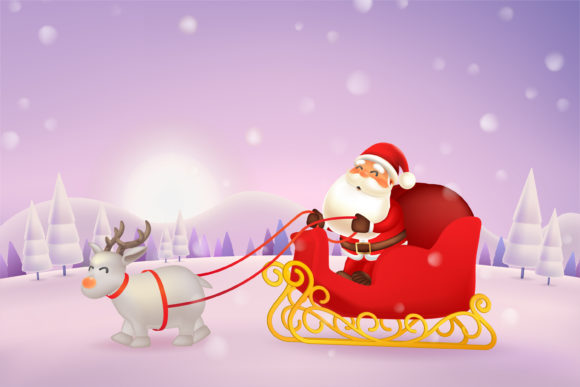 Santa Claus Reindeer Sleigh Sled Graphic Illustrations By ommusgraphic