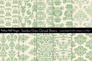 Seamless Green Damask Patterns Graphic Patterns By Melissa Held Designs