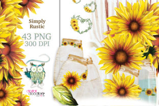 Print on Demand: Simply Rustic Watercolor Sunflowers Graphic Illustrations By Digital Doodlers