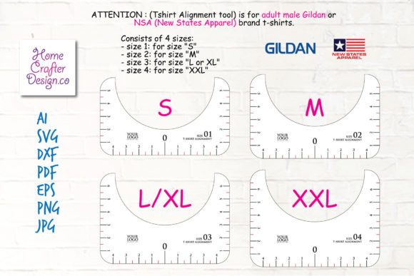 T-Shirt Alignment Tool - 4 Size Variation Graphic Item