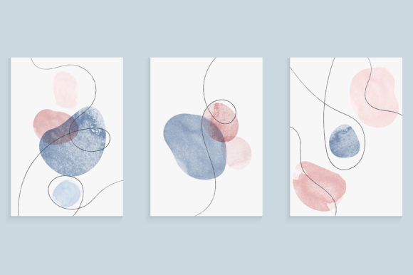 Covers Set with Hand Drawing Watercolor Graphic Backgrounds By medelwardi