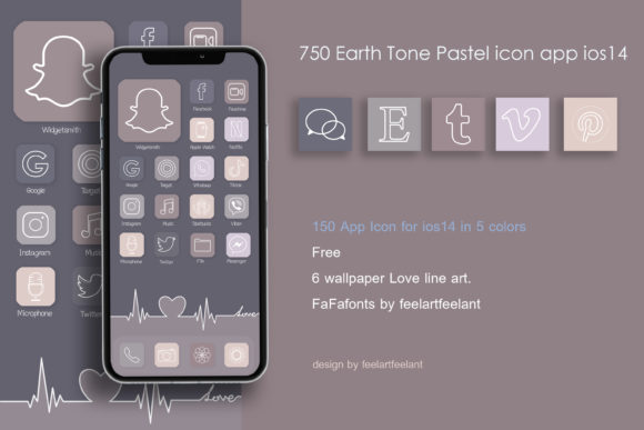 750 Earth Tone Pastel Icon App IOS14 Graphic Icons By feelartfeelant