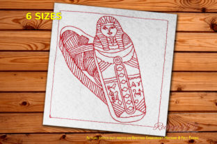 Ancient Mummy in a Sarcophagus Africa Embroidery Design By Redwork101