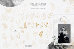 Print on Demand: Botanical Gold Line Art Clipart. Graphic Illustrations By Tiana Geo