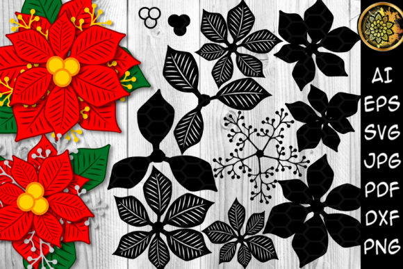 Print on Demand: Christmas Poinsettia Bunches Builder SVG Graphic Illustrations By V-Design Creator