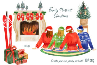 Print on Demand: Family Portrait Christmas Graphic Illustrations By ElenaZlataArt