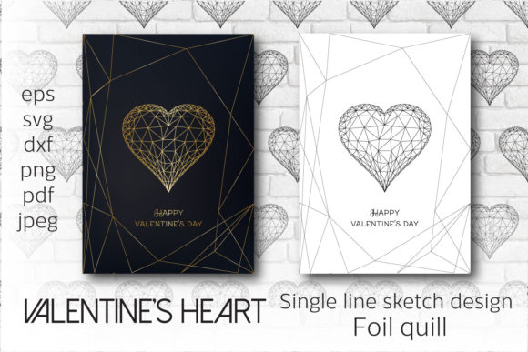 Foil Quill Valentines Heart. Single Line Graphic Crafts By inkoly.art