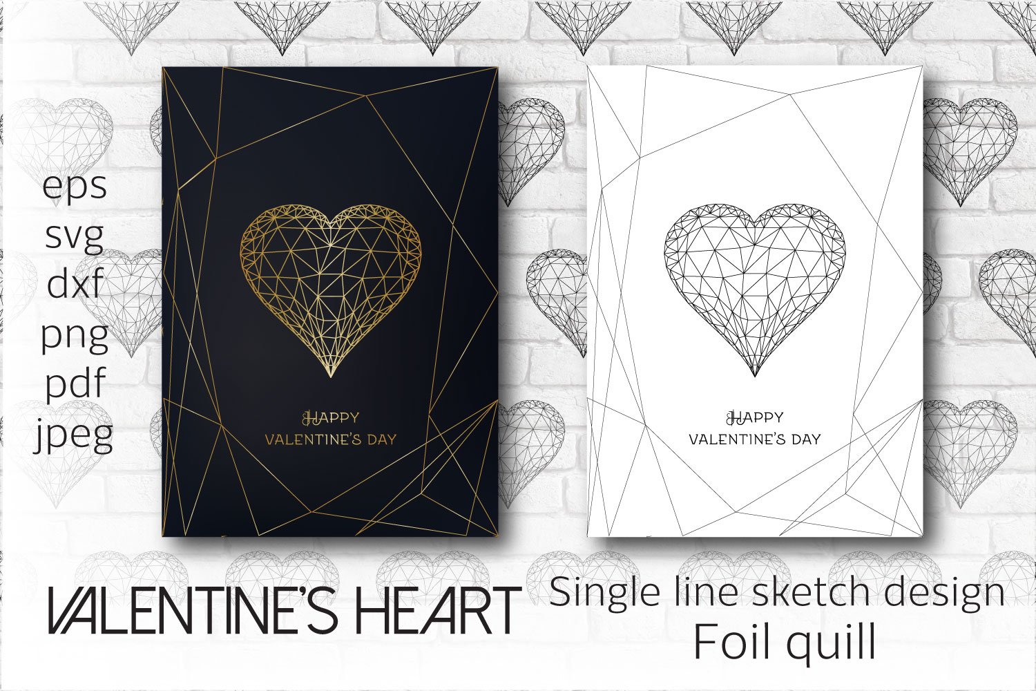 Foil Quill Valentines Heart. Single Line SVG File
