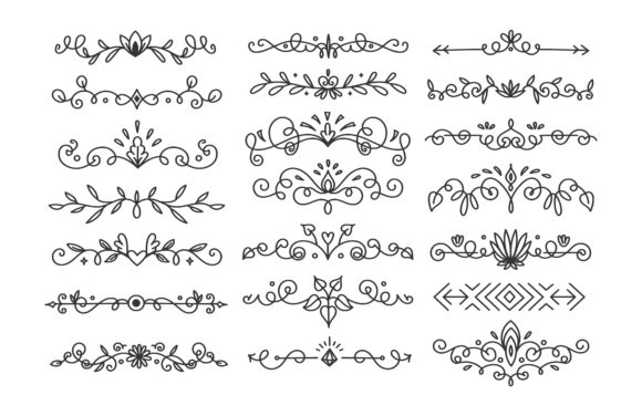 Hand Drawn Flourishes Divider Grafik Illustrationen von Big Barn Doodles