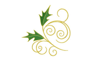 Print on Demand: Holly Leaves with Golden Curls Christmas Embroidery Design By EmbArt