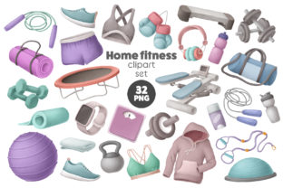 Print on Demand: Home Fitness Clipart Graphic Illustrations By Architekt_AT