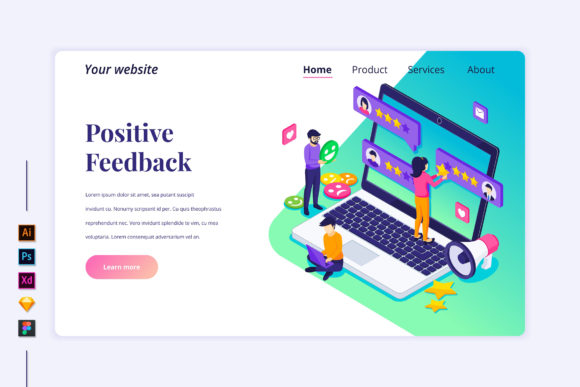 Isometric Customer Reviews Landing Page Graphic Landing Page Templates By agnyhasyastudio